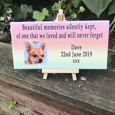 Personalised Ceramic Pet memorial tile, Photo Rememberance