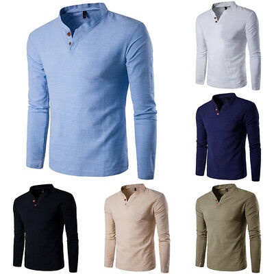 UK Mens Long Sleeve V-neck Tops Loose Fit Casual Plain Blouse T Shirt Tee Tops