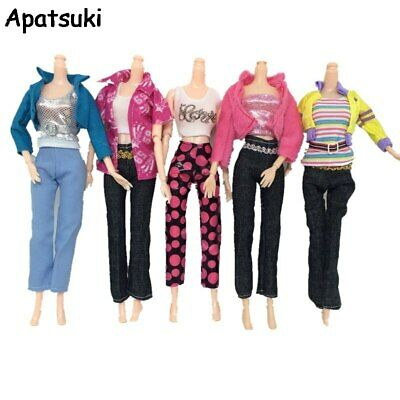 5sets/lot Casual Wear Clothes Suit Top Coat Trousers Pants Set For Barbie Dolls