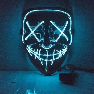 Glow In Dark LED Light Mask Up Funny Anonymous Mask Purge Mascara for Halloween