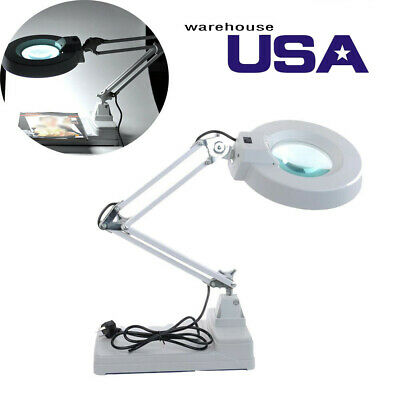 LED Magnifying Glass Desk Lamp for Close Work,10x lamp for Reading, Crafts--USA
