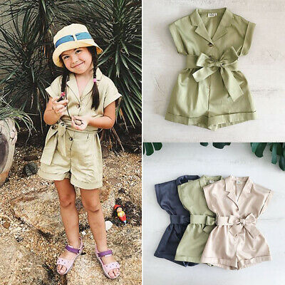 Toddler Kids Baby Girls Bow-tie Waist Romper Jumpsuit Playsuit Summer Outfit Set