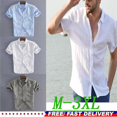 Mens Cotton Short Sleeve Summer Solid Shirts Casual Loose Dress Soft Tops Tee UK