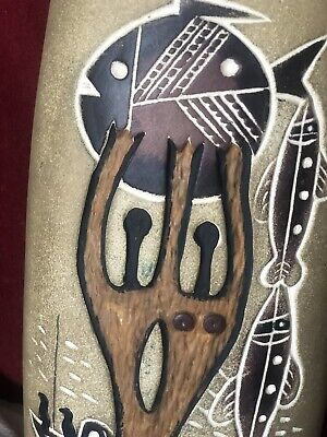 Superb Mid 20th Century Abstract Vase With Figural,Fish and Boat Decoration