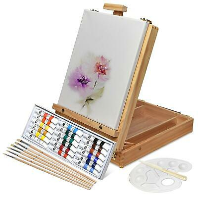 Florenz Box Easel Artists Painting Set W/18 Acrylic Paints 6 Brushes Canvas Art