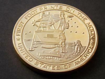 1969 Apollo 11 Moon Landing Gold Plated Coin Neil Armstrong Buzz Aldrin NASA