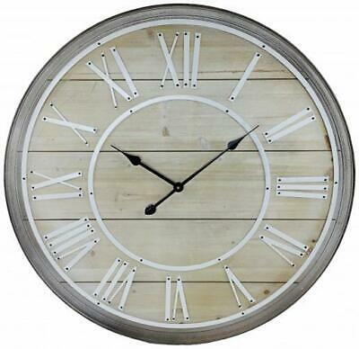 Home Wooden Roman Numerals Wall Clock Round Rustic Extra Large XL Big Giant 80cm