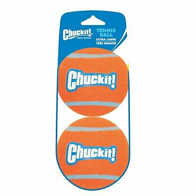 """Chuckit TENNIS BALL Fetch Toy XLG 2 pack High Visibility Large Dog 8.9cm (3.5"""")"""
