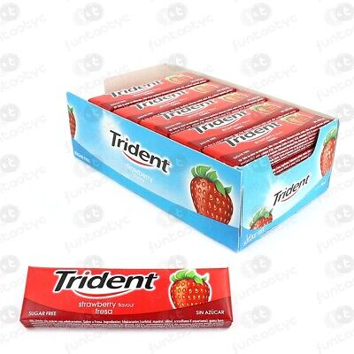 Chicles Trident Lamina Fruit (Fresa) Estuche 24 Paq. De 5 Chicles