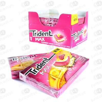 Chicles Trident Max New Frambuesa/Limon 12 Paquetes De 10 Chicles Sin Azucar