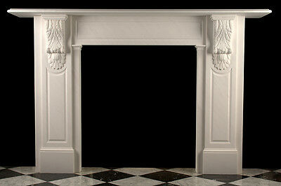 Large Early Victorian Corbel Fireplace in White Statuary Marble, Fluted Columns