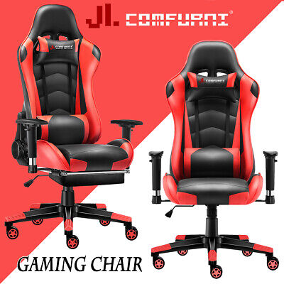 Red Racing Gaming Chair Fx Leather Recliner Executive Office Chair JL Comfurni