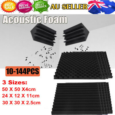 10-144PCS Studio Acoustic Foam Sound Absorbtion Proofing Panel Wedge 3 Sizes