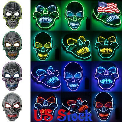 LED Light Mask Up Fun Mask The Purge Election Year Great for Cosplay Halloween,