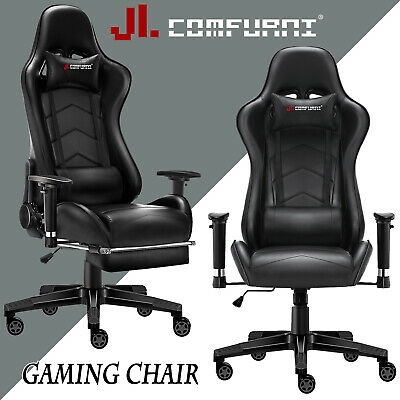Black Racing Gaming Chair Fx Leather Recliner Executive Office Chair JL Comfurni