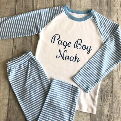 PERSONALISED PAGE BOY PYJAMAS, Wedding Gift Blue and White PJs Blue Glitter