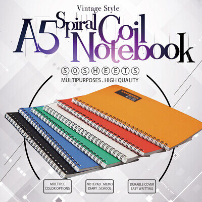 A5 Spiral Coil Notebook Diary Ruled School Vintage Office Student Note Book Memo