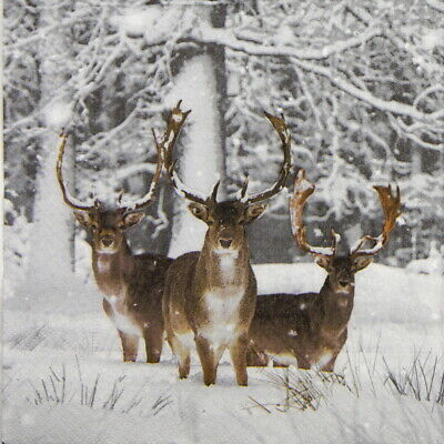 4x Paper Napkins for Party, Decoupage - Fallow Deer