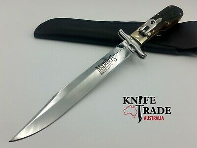Marbles MR101 Folding Bowie Knife +Leather Sheath Stag Bone Handle Hunting Knife