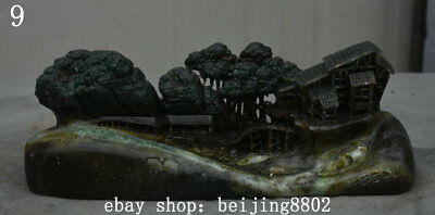 """10"""" Chinese Natural Dushan Jade Carved Tree House Mountain Water Boat Statue"""
