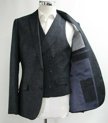 Men's Unbranded Lightly checked Dark Navy Blazer & Waistcoat (40R).. Sample 5751