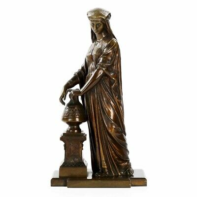 """BRONZE FIGURINE SCULPTURE  French Antique Egyptian Revival Statue """"Watercarrier"""""""
