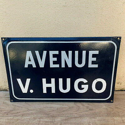 French Street Enameled Sign Plaque - rare AWESOME Victor Hugo 0608192