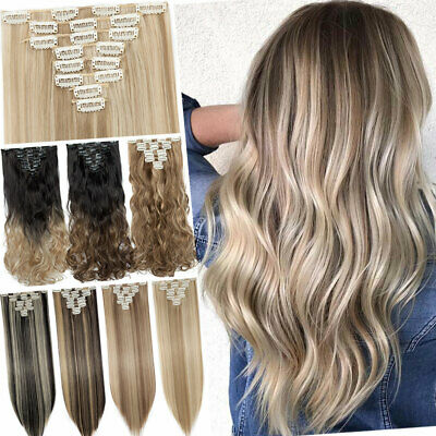 Real Long 100% Natural Extensions Clip in HAIR EXTENTIONS 18 Clips Women HAIR UK