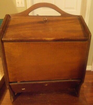 """Antique German Wooden Sewing Box Tote with Handle approx. 14"""" H x 10"""" x 9"""""""