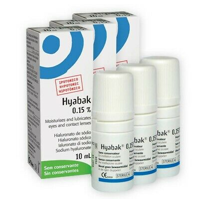 X3 Hyabak 10 Ml Eye Drops Moisturizer Lubricates For Dry Eyes Preservative Free