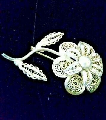 "Silver Filigree Multi-Layered Pin Brooch 1.75 X 1"" Vintage & Delicate~Beautiful!"