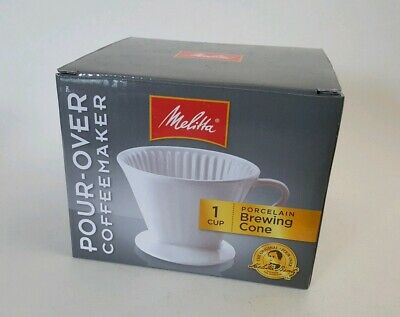 Melitta White Porcelain Pour-Over Coffee Maker Brewing Cone New Free Shipping