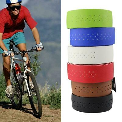 1Pair PU Leather Cycling Road Bicycle Handlebar Wrap Tape Plug&Tapes With B R1V9