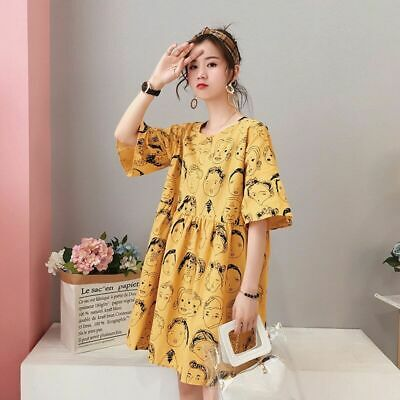 Ladies Pregnancy Dresses Loose Casual Maternity Clothing Comfy High Waist Dress