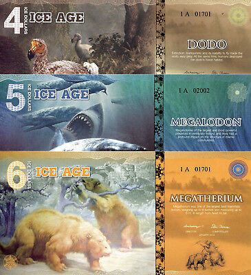 ICE AGE SET 3 NOTES 4 - 6 Ice Dollars Fun-Fantasy Note 2015 Issue Banknotes