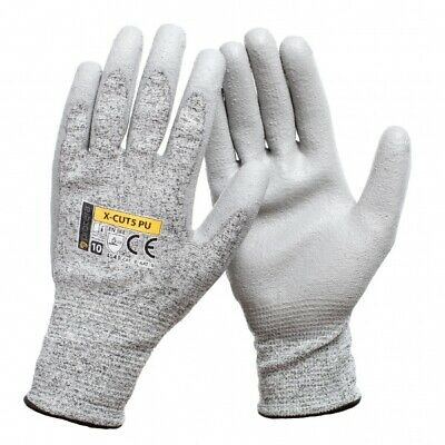 NEW PU ANTI CUT RESISTANT SAFETY WORK GLOVES Level 5 BUILDERS GRIP PROTECTION