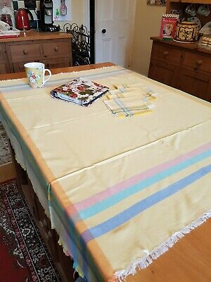 Vintage Yellow Tablecloth & 4 Napkins, 116cm x 111cm