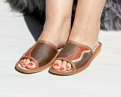 Womens Ladies Slippers Sandals Home Shoes Natural Leather Kapcie CLEARANCE SALE!