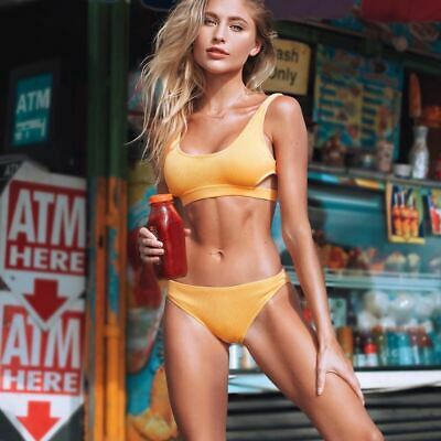 Yellow Feather Yarn Solid Bikini Plain Hollow out Padded Two Piece Swimwear Wome