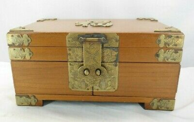 Vintage Asian Hinged Wood Jewelry Box with Metal accents and Two Drawers MT