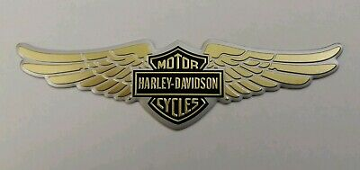 Harley Davidson 3D Metal Badge Sticker Graphic Decal Wings Logo Gold Adhesive
