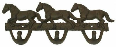 """Horse Wall Hooks Cast Iron Western Entryway Home Decor Rustic 5x12"""" Gift New"""