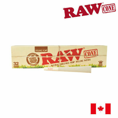 RAW Organic Pre-Rolled Rolling Paper Cone King Size - 32/Pack