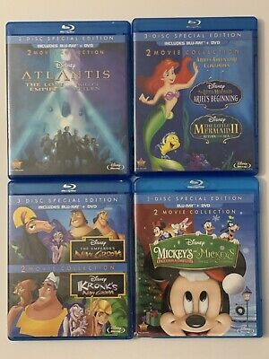 Lot of 4 Disney 2-Movie Collection Sets Blu-ray + DVD.  8 Movies in Total