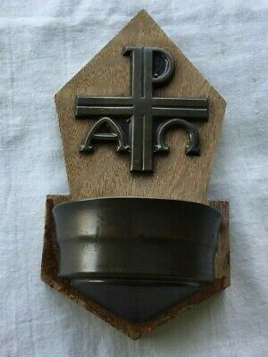 Vintage Wood & Metal Religious Holy Water Font Made in Germany