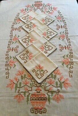 Vintage Linen Tablecloth & 8 Napkins  Embroidered Peach Beautiful Set EUC 87x58