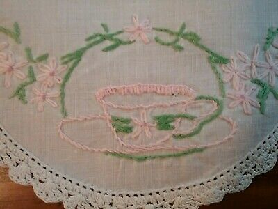 VINTAGE EMBROIDERED DOILY           Teacup and Saucer