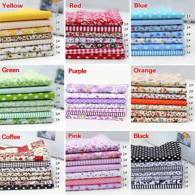 7Pcs DIY handmade Cotton Fabric Bundle Patchwork Floral Quilting Sewing Crafts