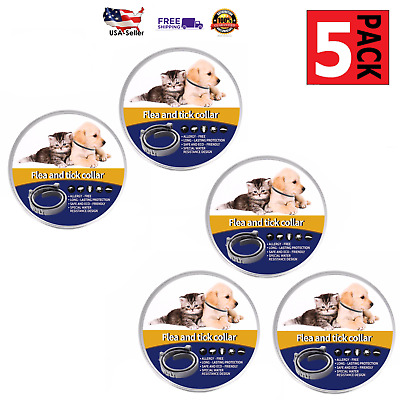 5 Pack, Flea and Tick Collar for Cats, Dogs,8 Month Protection All Natural 100%