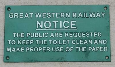 CAST IRON RAILROAD Sign Plaque Do Not Use Toilet While Train